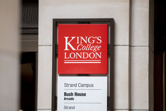London, UK, 18th July 2019, sign for Kings College Strand Campus Bush house.