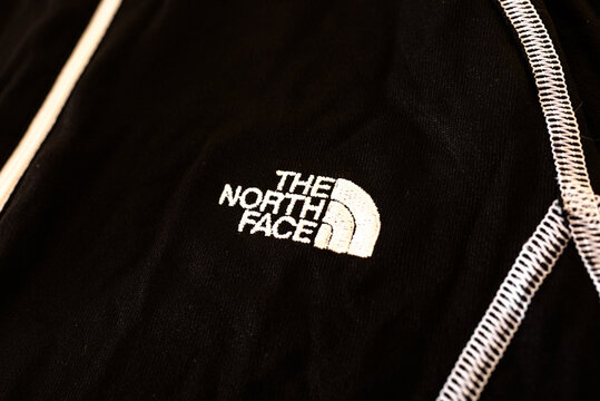 Valencia, Spain - November 18, 2020: Emblem of the American company of mountain sports equipment The North Face.