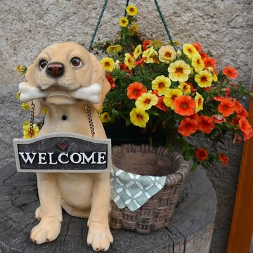 Dog Statue With Welcome Sign By Flower Pot On Tree Stump