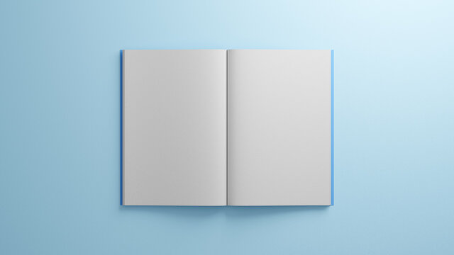 Open book with white blank sheets paper. Blue cover and blue background. 3D Illustration. Mock-up. Easy to recolor. Spread pages. Magazine