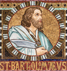 VIENNA, AUSTIRA - OCTOBER 22, 2020: The detail of apostle St. Bartolomew from mosaic of Immaculate Conception in church Pfarrkirche Kaisermühlen.
