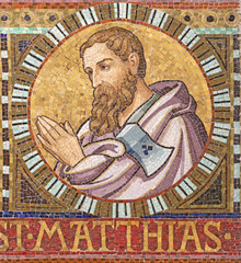 VIENNA, AUSTIRA - OCTOBER 22, 2020: The detail of apostle St. Matthias (replacement of Judas Iscariot) from mosaic of Immaculate Conception in church Pfarrkirche Kaisermühlen.