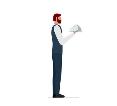Elegant male waiter holding serving platter with dome. Restaurant or cafe high quality service concept. Vector flat illustration