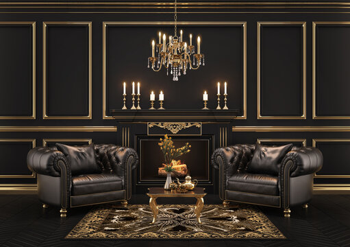 Classic black and gold interior with black leather armchairs,chandelier,mouldings.3d rendering