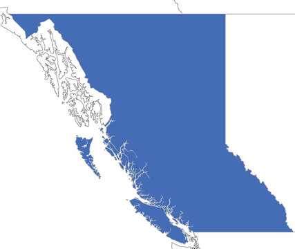 Simple map of British Columbia, province of Canada with outlines of neighboring regions such as Yukon, Northwest Territories, Alberta, Alaska and Washington. Travel destination and touristic map.