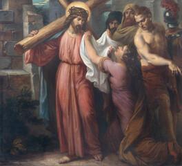VIENNA, AUSTIRA - OCTOBER 22, 2020: The painting Veronica wipes the face of Jesus in church St. Johann der Evangelist by Karl Geiger (1876).
