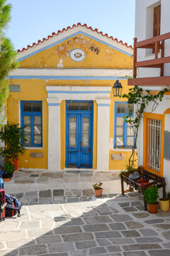 Colorful Greek architecture in Lefkes village on Paros Island, Cyclades, Greece