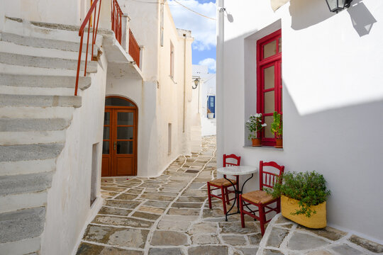 A view of whitewashed street with typical Greek architecture in Lefkes village on Paros Island, Cyclades, Greece