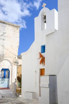Traditional Greek church in Lefkes village on Paros Island, Cyclades, Greece