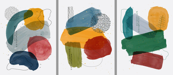 Vector illustration. Abstract contemporary aesthetic backgrounds. Design for cover, poster, postcard, card, flyer, brochure, frame. Wall decor. Modern art print. Watercolor painting. Hand painted art