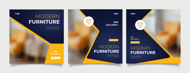 Fototapeta Furniture social media post templates