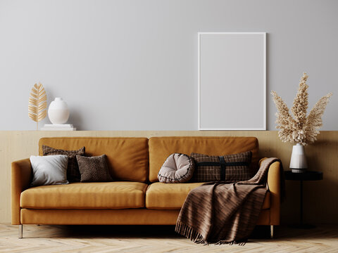 Frame mockup in bright living room design with brown sofa, white frame in Scandinavian interior, 3d rendering