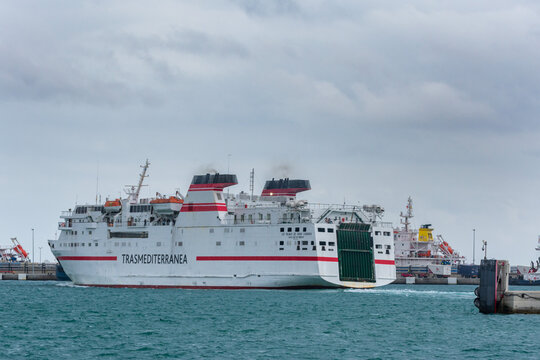 Algeciras 2/20/2020. Ferry ship of the Trasmediterranea company leaving the port of Algeciras.