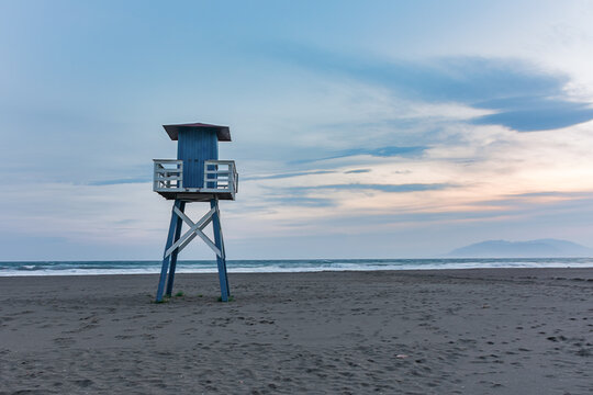 Empty and closed beach guardhouse on a winter afternoon.