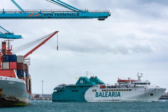 Algeciras 2/20/2020. Ferry ship of the Balearia company entering the port of Algeciras.