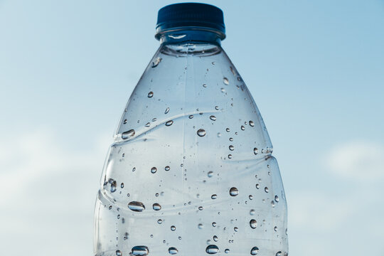 Abstract shot of bubbles in water bottle