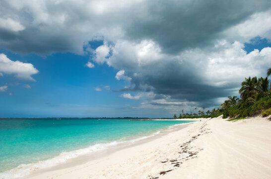 Paradise Island Beach With A Cloudy Sky