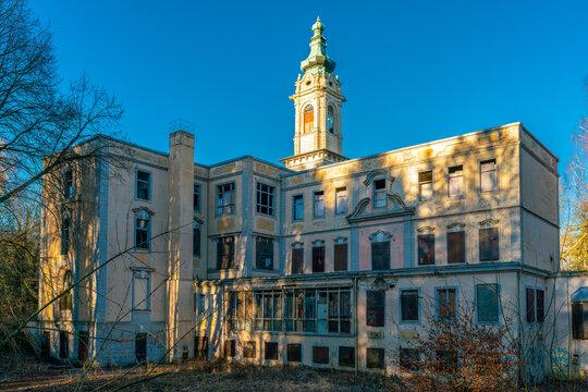 Wandlitz, Brandenburg, Gemany - february 16, 2019: The ruins of historical castle Dammsmuehle near Wandlitz