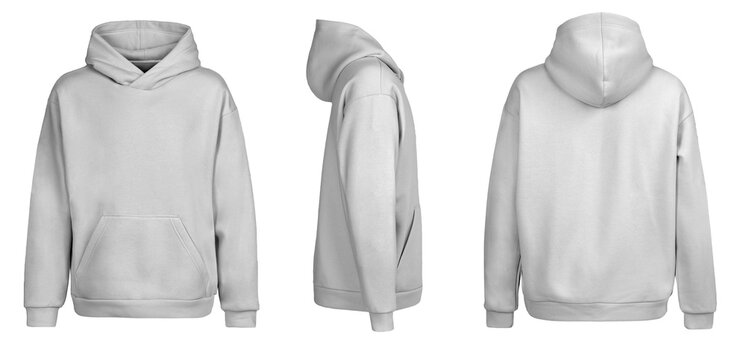 Grey hoodie template. Hoodie sweatshirt long sleeve with clipping path, hoody for design mockup for print, isolated on white background.