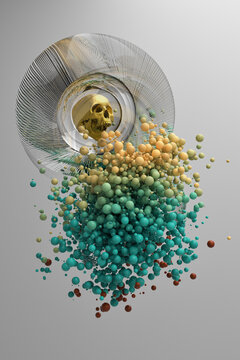 Abstract 3d illustration where a golden skull appears inside a glass sphere, surrounded by particles.