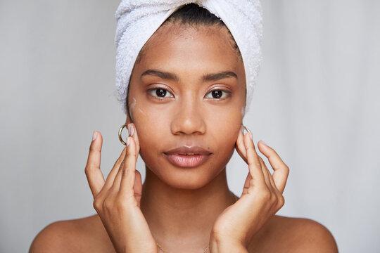 Stunning woman daily beauty treatment