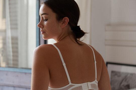 Beautiful young woman morning beauty routine