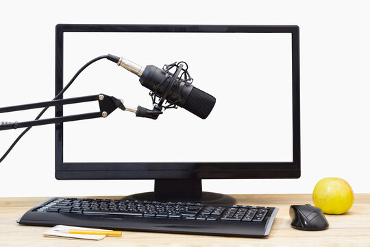 Microphone against the background of computer controls