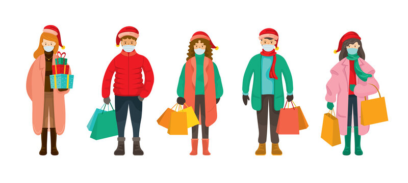 People in Winter Clothes wearing Face Mask, Christmas Shopping Concept