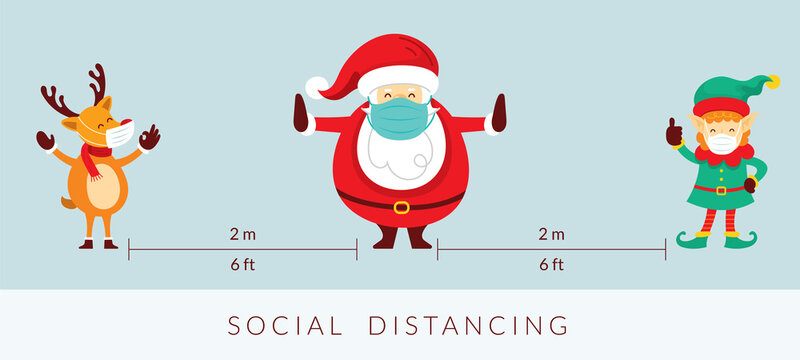 Santa Claus and Friends Social Distancing Concept, Prevention of Coronavirus Covid-19