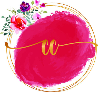 CC C initial watercolor abstract  logo template vector image