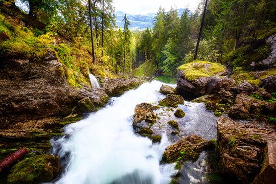 Gollinger Waterfall in Golling, Austria
