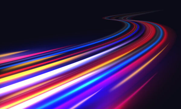Light trails. Blurred car light motion effect, city road background with long exposure night lights with dynamic flashlight red and blue colors on black. Vector fast highway traffic trail background