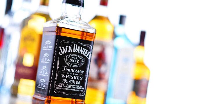 Bottles of assorted global liquor brands