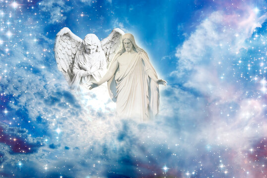 angel archangel and Jesus Christ with open arms over divine sky with Light like peace, hope, protection and spiritual or religious conceot
