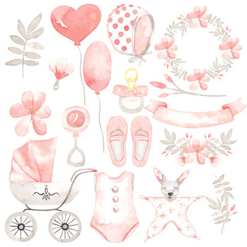 Cute watercolor set for a girl. Perfect for printing, web, textile design, greeting scrapbook paper, souvenirs and other creative ideas.
