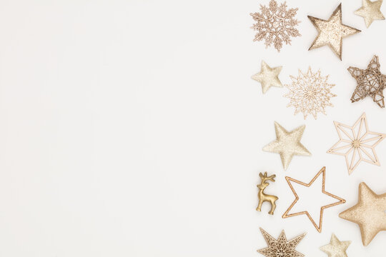 Christmas flatlay decor background on the white wooden table.