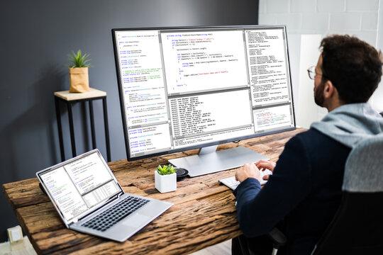 Software Developer Programmer Using Computer