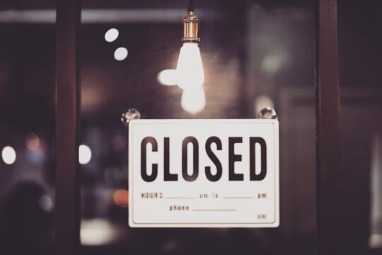 Close-up Of Closed Sign On Window