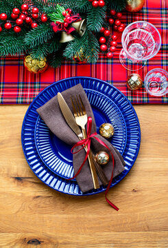 Christmas festive traditional dinner table setting