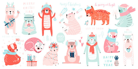 Wall Mural - Christmas set with Cute Bears celebrating Christmas eve, handwritten letterings and other elements. Funny characters.