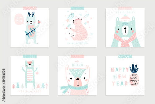Wall mural Christmas set with Cute Bears celebrating Christmas eve, handwritten letterings and other elements.