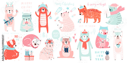 Wall mural Christmas set with Cute Bears celebrating Christmas eve, handwritten letterings and other elements. Funny characters.