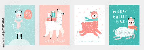 Wall mural Christmas cards with Cute Llamas celebrating Christmas eve, handwritten letterings and other elements. Funny characters.