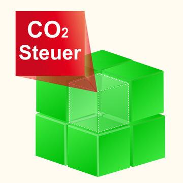 Würfel 3D Grün mit CO2 Steuer Label