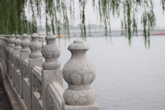 Beijing Beihai Park Ancient Marble Fence Willow Tree Lake Scenic View