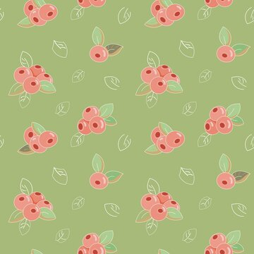 seamless vegetable pattern with red cranberry berries and leaves on bright green background