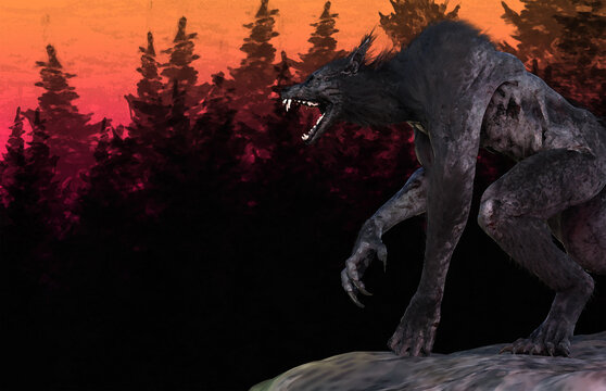 3d illustration of a Werewolf/Dog Man perching on cliff against forest background