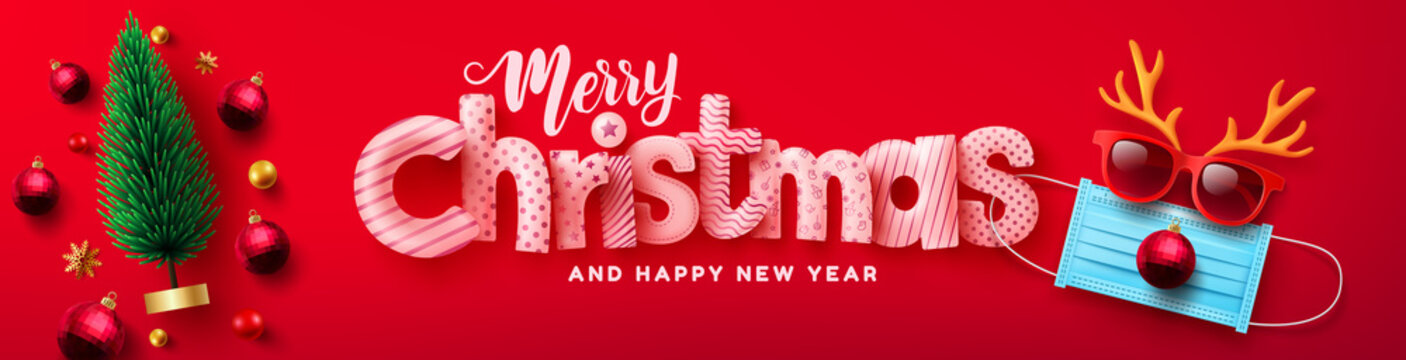 Vector of Merry Christmas & Happy New Year Poster or banner with Christmas tree and Symbol of reindeer from Medical Mask,red sunglasses and antler for Retail,Shopping or Christmas Promotion.