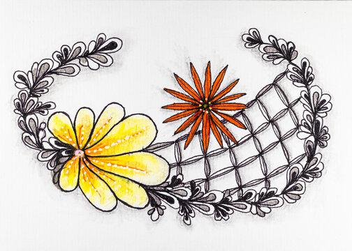 Blätterkranz und Blüten in Zentangle Darstellung mit Schattierungen
