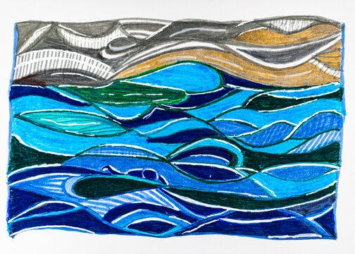 Wellen mit Schwimmerin  vor Strand in Aquarell